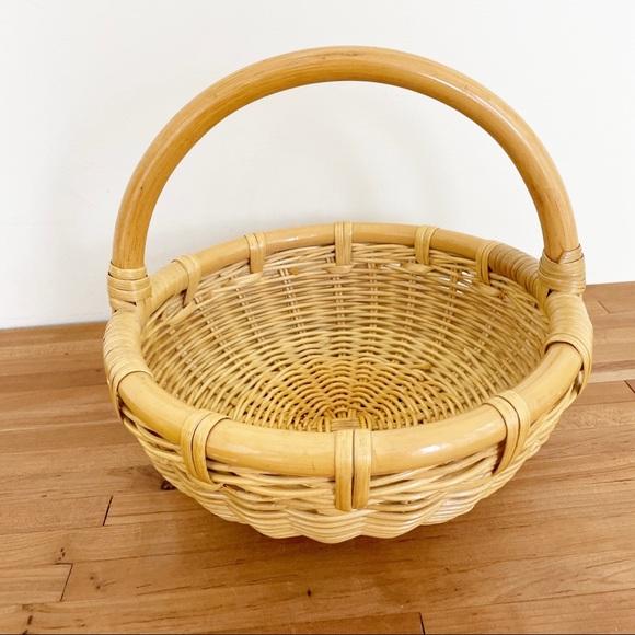 Vintage Bamboo Handle & Detail Straw Basket